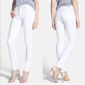 • AG • The Prima Mid Rise Cigarette Jeans White